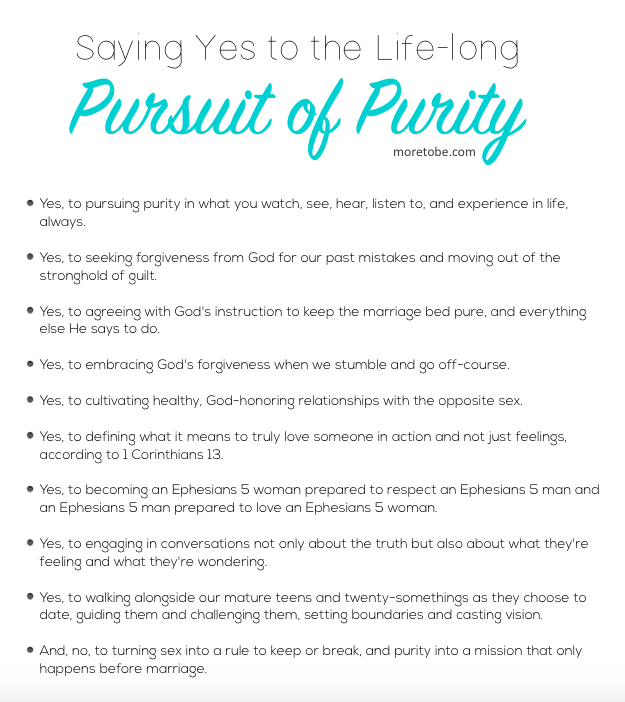 Yes to Life-Long Purity!