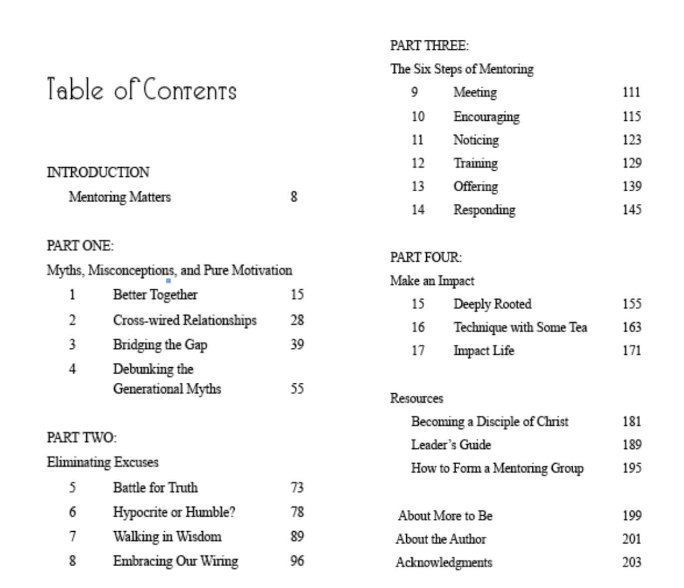Impact Together Table of Contents